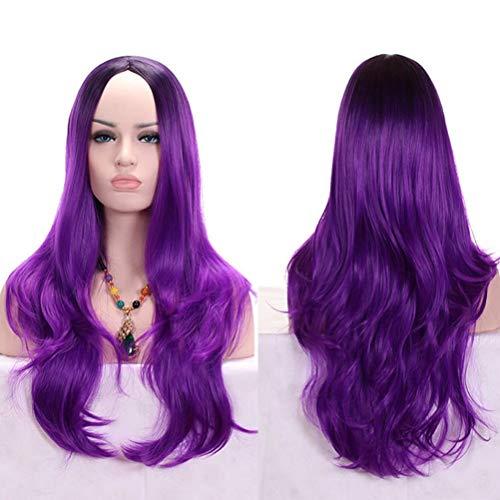 Frauen Cosplay Kostüm Party lange lockige Farbverlauf Schal Haar gewellte Perücke