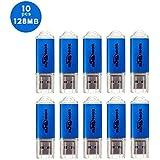 BESTRUNNER 10pcs USB Stick 2.0 128MB(NICHT 128GB)Speicherstick Flash Drive für Kleine Dateien speichern Geschenk für Vatertag, Kindertag und Lehrertag Blau