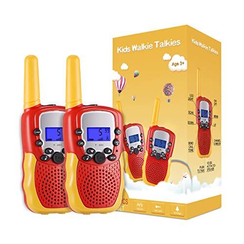Kearui Spielzeug 4-10 Jahren für mädchen/Junge, Walkie Talkies für Kinder 8 Kanal Funkgerät mit Hintergrundbeleuchteter LCD-Taschenlampe, 3 Meilen Reichweite für Abenteuer im Freien, Camping, Wandern