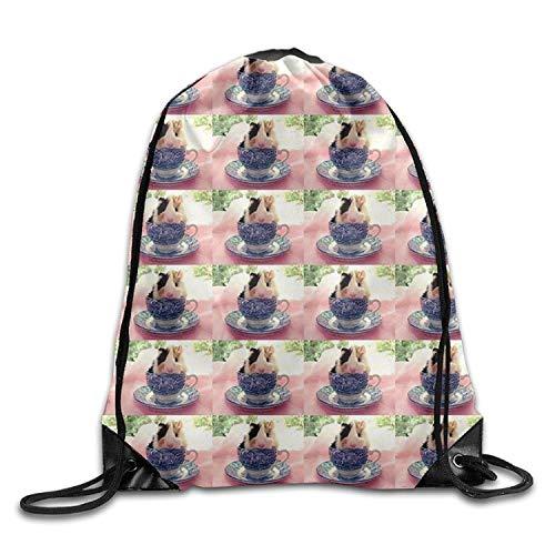 MeiMei2 Meerschweinchen-Rucksack mit Kordelzug für Mädchen, große Kapazität, zum Wandern
