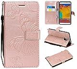 BONROY Handyhülle Schutzhülle mit kartenfach Lederhülle Schmetterling Leder Flip Case Cover Handy mit Magnet Standfunktion für Samsung Galaxy Note 3-(3D Schmetterling-Roségold)