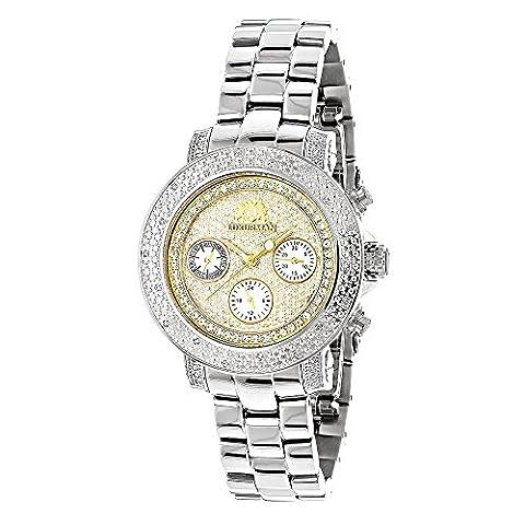 LUXURMAN Womens Diamond Watch 0.3ct Two Tone Gold Plated