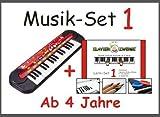 Musik-Set 1: Kinder-Keyboard von SimbaⒸ + Klavierzwerge-Lern-Set 1 (Buntstifte, Zahlensticker, 2-Silikon-Armbänder) für kleine Kinder ab 4 Jahre, Anfänger, Vorschulkinder