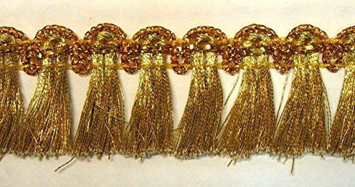 16,40m Fransen-Borte 2,5cm breit Farbe: Lurex-Gold TSL-1427-gold