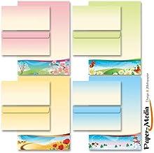 40 Pièces paper-media lot de papier à lettre motif les 4 saisons enveloppes sans fenêtre format dIN long