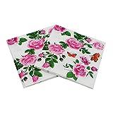 Fansi 2BAGS/40 servilletas para el Cuidado del hogar, Creativas con patrón de peonías, servilletas de Limpieza para Bodas, Fiestas, Flores, servilletas de Limpieza para Suministros de Fiesta, vajilla