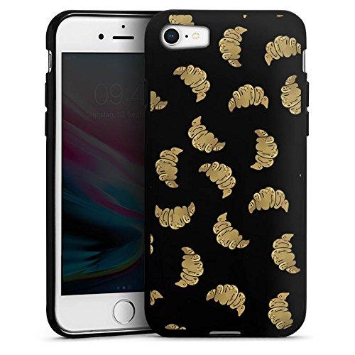 Apple iPhone 6 Plus Silikon Hülle Case Schutzhülle Croissant Muster Essen Silikon Case schwarz