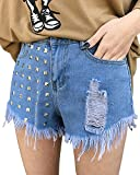Mujer Calientes Pantalones Cortos Shorts De Mezclilla Jeans Shorts Cintura Alta Azul Marino S