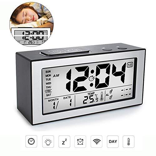 HEDDK Digital Reloj Despertador LCD Relojes de Mesa Grandes ...