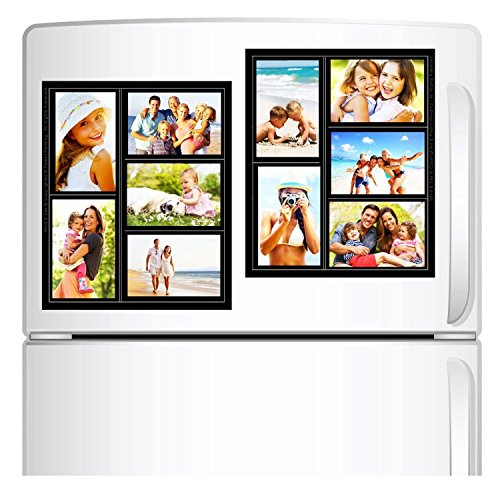 """Top Home Solutions–Pack de 2magnético marco de fotos Collage para frigorífico, escuela Locker, Archivo armario, caja de herramientas, o las pizarras de borrado en seco. Capacidad para 5–4""""x 6fotos."""