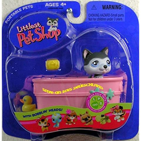 Littlest Pet Shop Portable Pets Husky Dog with Bathtub by L&S Distribution