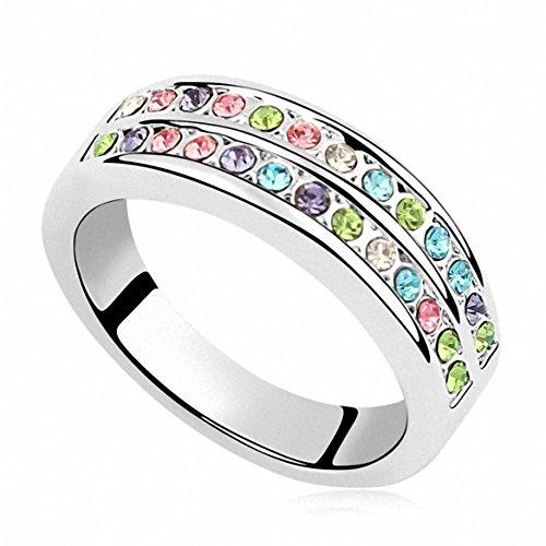 Damen Ringe Glitzer Bunte Rosegold Bandring mit Swarovski Kristall Größe 56(17.8) von Changeable