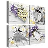 murando - Bilder 60x60 cm - Leinwandbilder - Fertig Aufgespannt - Vlies Leinwand - 4 Teilig - Wandbilder XXL - Kunstdrucke - Wandbild - Herzen Blumen n-A-0039-b-j