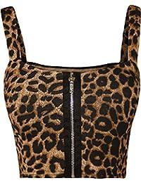 d68431061d500 Women Ladies Boobtube Sexy Zip Crop Top Front Padded Strap Bralet Bra Top  Vest 8-