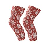 Knee Brace Christmas Hite Snowflakes On Red Background Support Compression Sleeves,1 Pair Anti-Slip for Arthritis,ACL,Running,Pain Relief,Injury Recovery,Basketball and More Sports