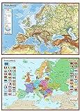 Posterkarten Geographie: Posterkartenset Europa bestehend aus Posterkarte Europa physisch + Posterkarte Europa politisch