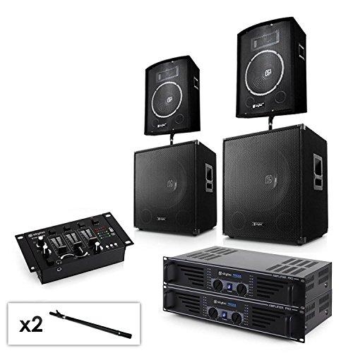 """2.2 PA Set Anlage mit 2x Verstäker, 2x 15\"""" Subwoofer, 2x 10\"""" Boxen, Mixer & Kabel Veranstaltungsausrüstung DJ-Set (professionell, für Veranstaltungen, abgestimmte Komponenten) schwarz"""