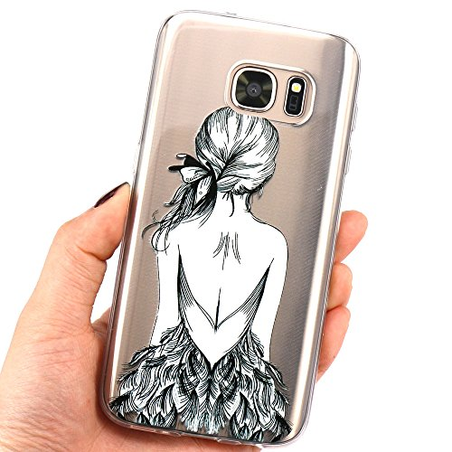 Samsung Galaxy S7 Hülle, JIAXIUFEN Weiß Marmor Serie Flexible TPU Silikon Schutz Handy Hülle Handytasche HandyHülle Etui Schale Case Cover Tasche Schutzhülle für Samsung Galaxy S7 Color08