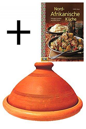 Tajine, original aus Marokko, inklusive Kochbuch Nord Afrikanische Küche, Tontopf zum Kochen, Tuareg Ø 30cm, für 4-5 Personen, handgetöpfert aus Marrakesch, frei von Schadstoffe 30cm, für 4-5 Personen, Topf + Nord Afrikanische Küche Buch