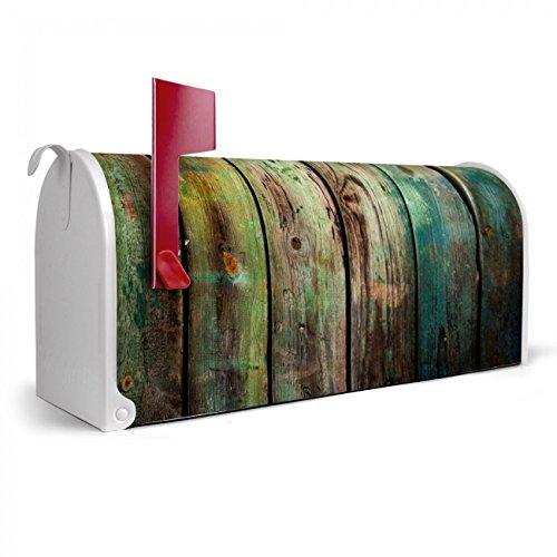 BANJADO US Mailbox | Amerikanischer Briefkasten 51x22x17cm | Letterbox Stahl weiß | mit Motiv Grünes Holz, Briefkasten:mit silbernem Standfuß