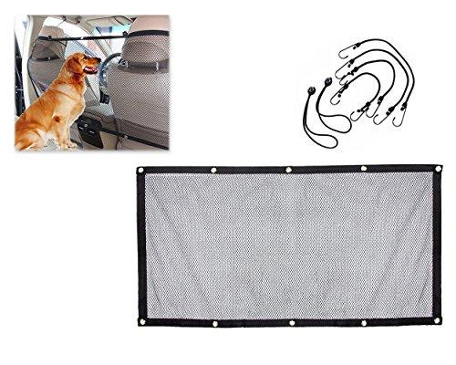 dsstyles Universal Mesh Fahrzeug Pet Barrier Auto Net Carrier für Hunde Katzen Sicherheitsnetz mit Haken und Lederriemen 115x 62cm