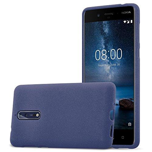 Cadorabo Hülle für Nokia 8 2017 - Hülle in Frost DUNKEL BLAU - Handyhülle aus TPU Silikon im matten Frosted Design - Silikonhülle Schutzhülle Ultra Slim Soft Back Cover Case Bumper