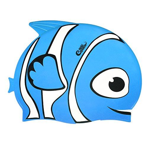 HeySplash Kids Swim Cap, High Elastic Silicone Fish Style Waterproof Swimming Cap for Children Boys & Girls (Blue)