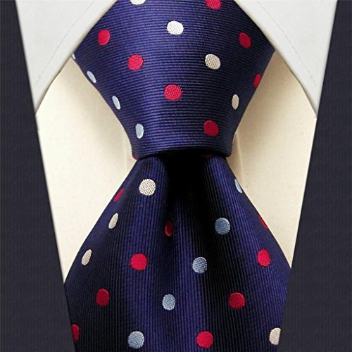 Intrepid Handmade Polka Dot Multi-color Executive Men's Tie, Red, White , Blue Polka Dot 100% Silk Jacquard Woven Necktie Tie by Intrepid Blue Woven Tie