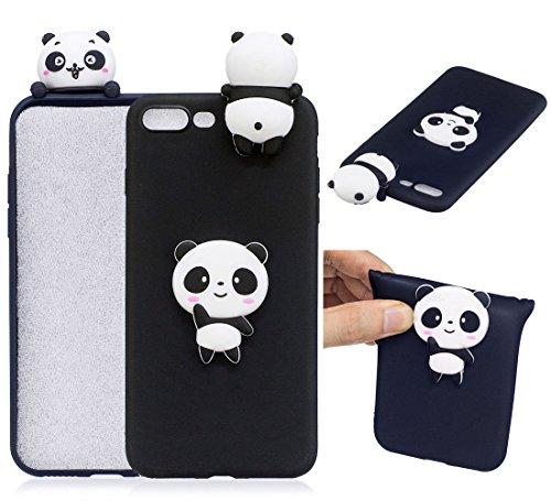 iPhone 7 Plus / iPhone 8 Plus Hülle, BENKER Hochwertigem Neu Kreativ 3D Karikatur Durable TPU Silikon Kratzfeste Stoßfest Rutschfeste Handyhülle - Erdbeere Schwarzer Panda