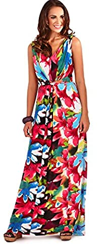 Summery Ladies Full Length Floral Sleeveless Maxi Dress with Twist Knot, Holiday Beach, Black/Pink,