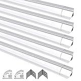 LED Aluminium Profil, Jirvyuk LED Aluminium Kanalprofil V-Form 5 Pack 1M / 3.3ft Aluminium Extrusion Track klar Deckel Endkappen Metall Befestigungs clips (Transparent-V)