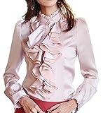 Cheerlife Damen Bluse Langarm Elegant Stehkragen mit Puffärmeln und Volants Rüschung OL Business Slim Fit Chiffonbluse 2XL Pink