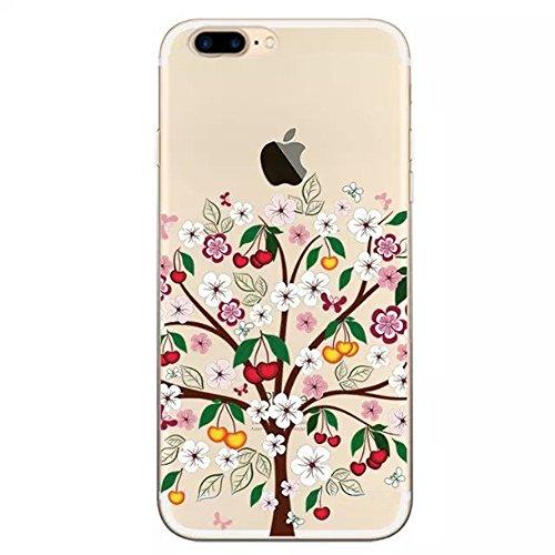 """Coque iPhone 7 Plus 5.5"""" Ultra-Mince Silicone TPU Gel Transparent Souple Etui Housse Sunroyal® Apple iPhone 7 Plus (5.5 Pouces) Case de Protection Spécial Back Cover Anti-Choc Bumper - Fleur Violet Pattern 02"""