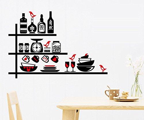 ufengke® Personalizzato Bicchiere di Vino da Cucina e Una Bottiglia di Vino Adesivi Murali, Sala da Pranzo Cucina Adesivi da Parete Removibili/Stickers Murali/Decorazione Murale