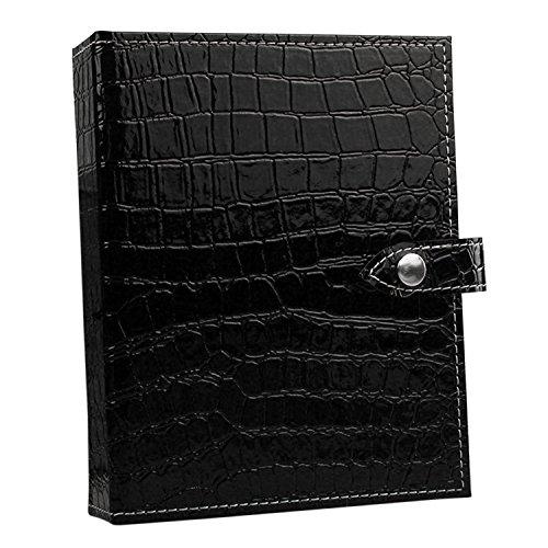 Sasairy Boîte à Boucles d'Oreilles Porte Présentoir Bijoux Livres en Pu Cuir Pour Rangement des Boucles d'Oreilles,Noir(Taille Grande)