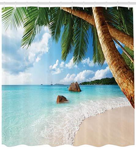 ABAKUHAUS Strand Duschvorhang, Exotische Palme Ozean, Trendiger Druck Stoff mit 12 Ringen Farbfest Bakterie und Wasser Abweichent, 175 x 200 cm, Multicolor