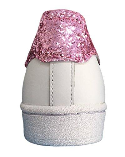 Superstar bianche con tessuto glitter rosa e sporcatura in punta Bianco