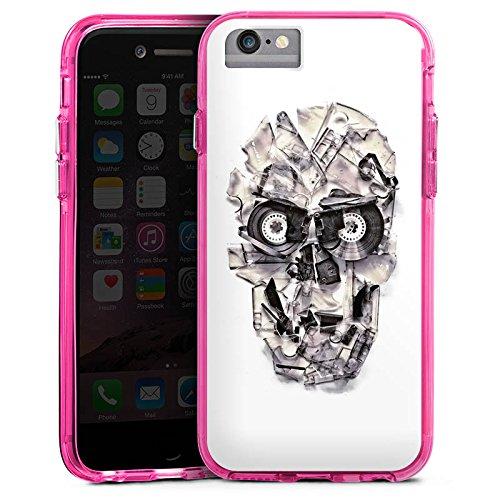 Apple iPhone 7 Bumper Hülle Bumper Case Glitzer Hülle Totenkopf Schädel Skull Bumper Case transparent pink