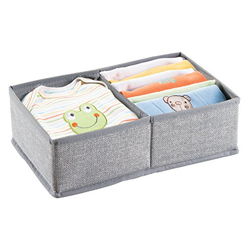 mDesign Fabric Baby Nursery Closet Organizer for Clothing, Bibs, Towels - 2 Compartments, Gray
