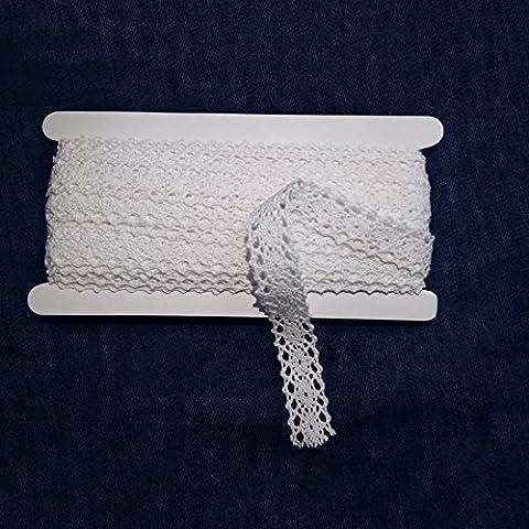 Galon de dentelle, 9,1m, style vintage, coton blanc, dentelle florale pour couture et pour décoration de mariage (2cm)