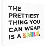 "The Kids Room By Stupell The Prettiest Thing You Can Wear Is A Smile Textual Canvas Art, 16"" X 20"""