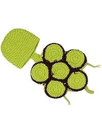 SODIAL (R) Ninos bebe del traje de punto de ganchillo gorrita tejida Flores Animal Gorra apoyo de la foto - Tortuga Verde