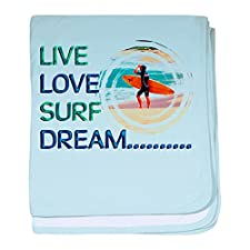 CafePress–Live Love Surf Dream Baby Decke–Baby Decke, Super Weich Für Neugeborene Wickeldecke, baumwolle, himmelblau, Standard
