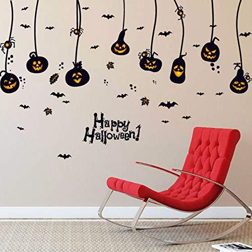 Xzfddn Kürbis Licht Lampe Spinne Fledermaus Wandaufkleber Halloween Fenster Glas Dekor Wand Poster Wallpaper Festival Wohnkultur Wand Applique (Halloween Dekor Gläser)