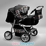 Akjax Gemini Poussette pour jumeaux avec ombrelle et 2 coques bébé