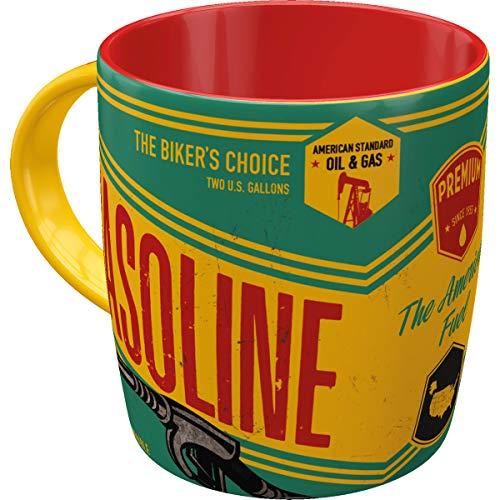 Nostalgic Art 43011 Retro Kaffee-Becher Gasoline, Große Tasse mit tollem Biker-Motiv, Geschenk-Idee für Biker & Vintage-Liebhaber, 330 ml