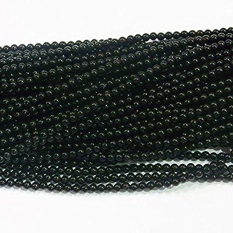 2mm Round Black Onyx A Grade Gemstone Beads 15''L by TheTasteJewelry
