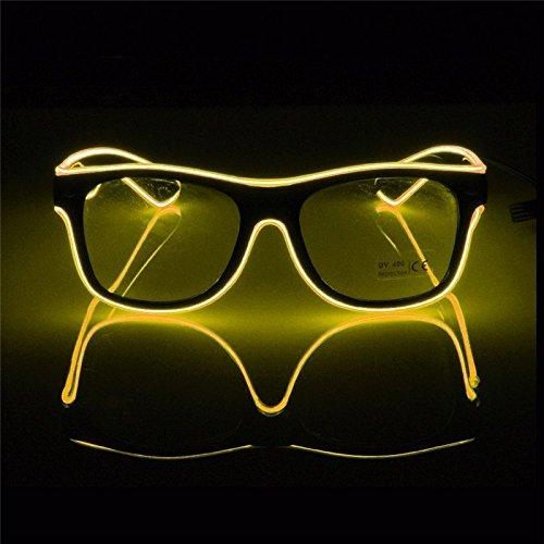 Aprigy - Blinkende Beleuchtung Draht LED Brille Luminous Partei Dekorative Beleuchtung Gl?Ser Geschenk Helle Partei Sunglasses [Gelb ]