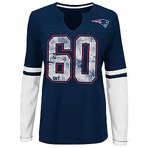 "New England Patriots Women's Majestic NFL ""Kickoff"" L/S Notch Neck Shirt Camicia"