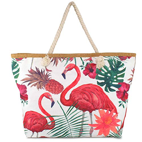 Hats Beach Bag Colorful Summer mit Kordel-Henkel Schulter-Strand-Pool-Schwimmbad-Shopping-Tasche Sommer-Urlaub-Flair Flamingo (Flamingo großes Muster) Flamingo-muster